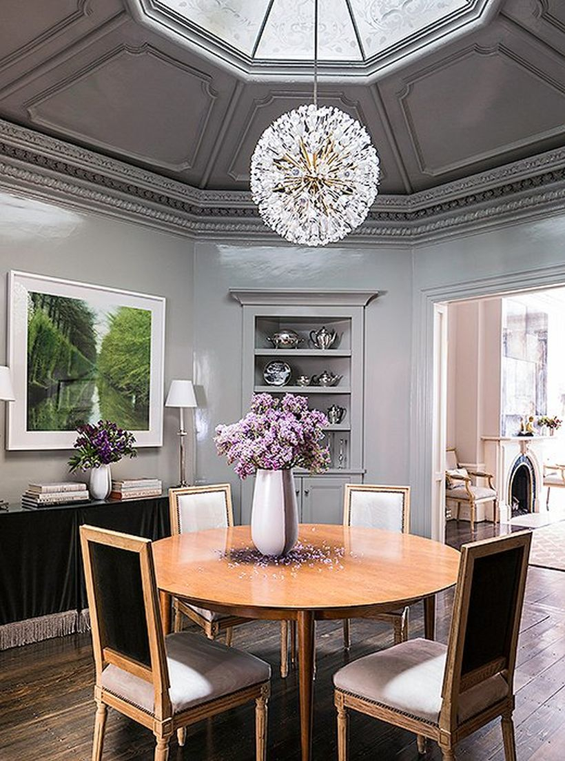Gorgeous coral gray color in the dining room to make inspire you