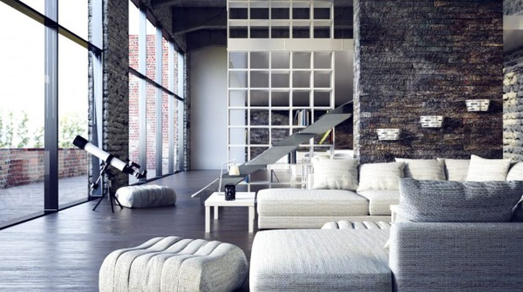 Mesmerizing farmhouse living room design with stone walls to perfect your natural living room