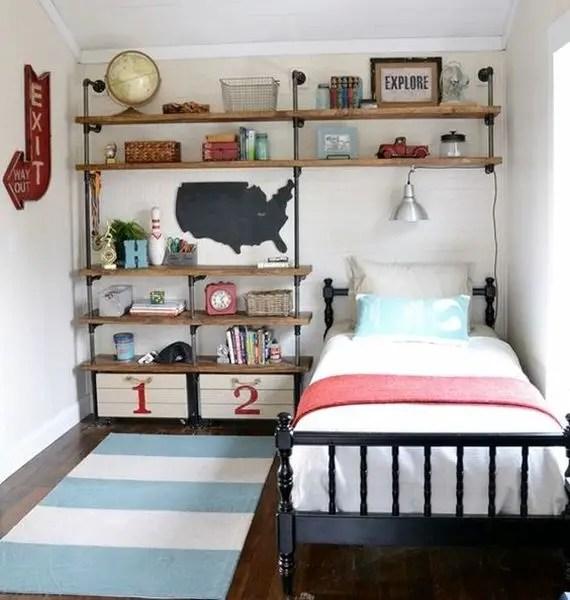 Minimalist teen bedroom design with industrial pipe wooden shelves to complete your bedroom