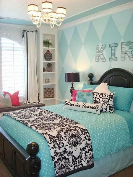 Modern bedroom for teen girl with wallpaper turquoise to beautify your bedroom design