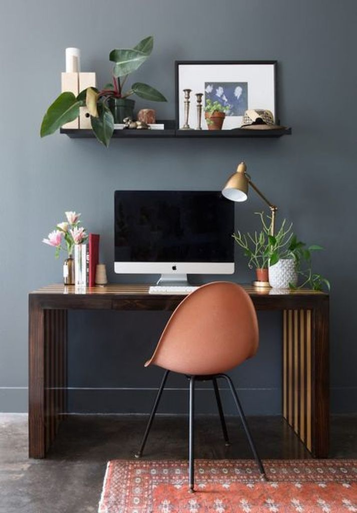Modern home office decoration with gorgeous dark gray wall to perfect neutral color scheme in your office home