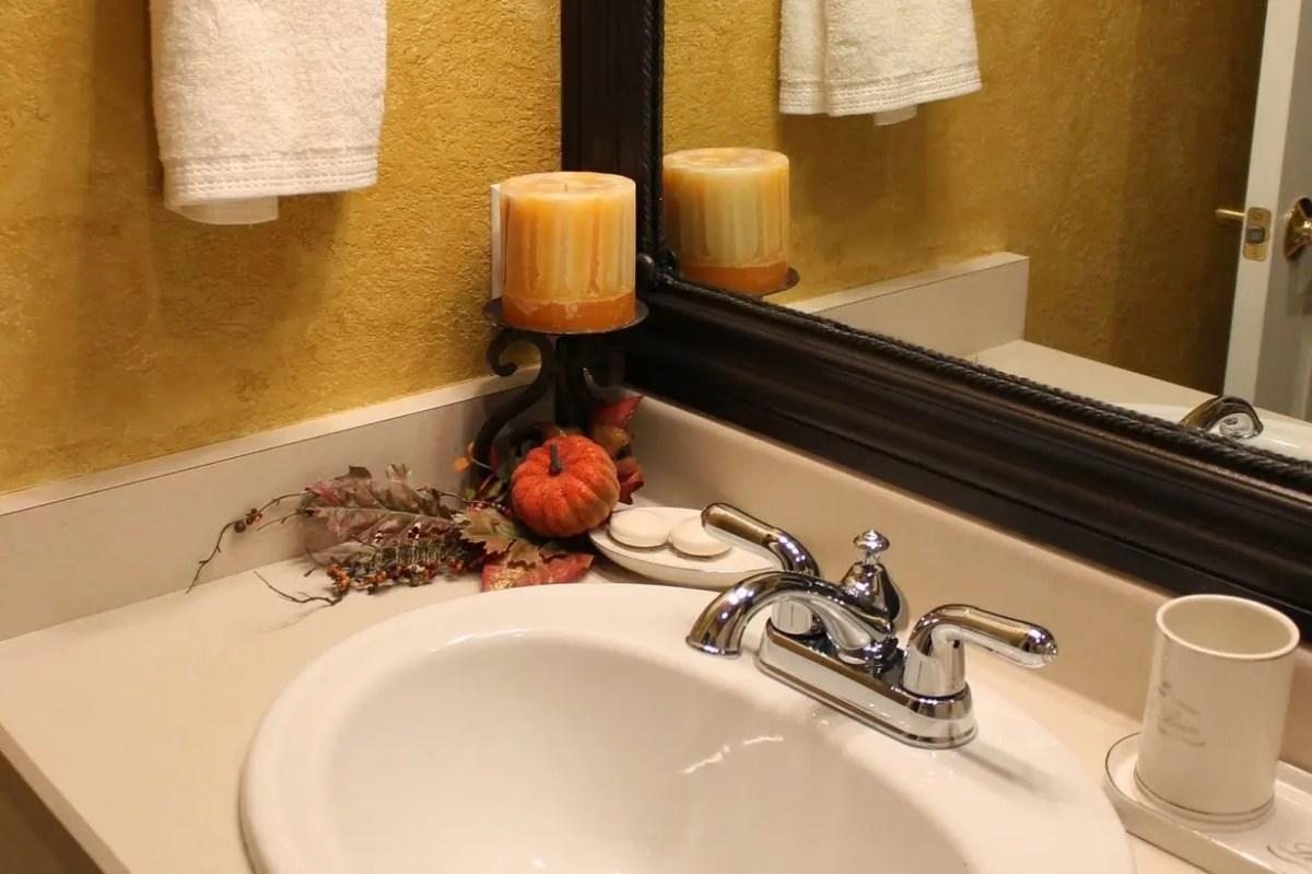 Pumpkin decoration under the mirror