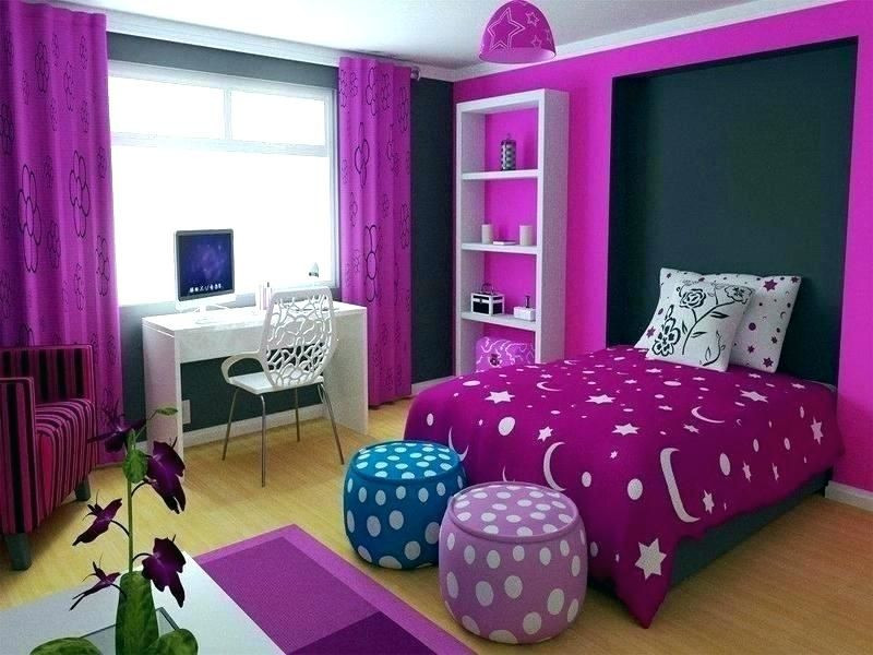 Purple bedroom decoration combined with purple flowers to beautify your teen girl bedroom