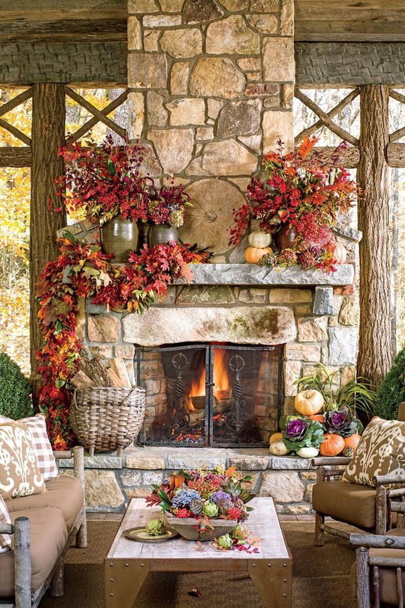 Red flowers fireplace decoration