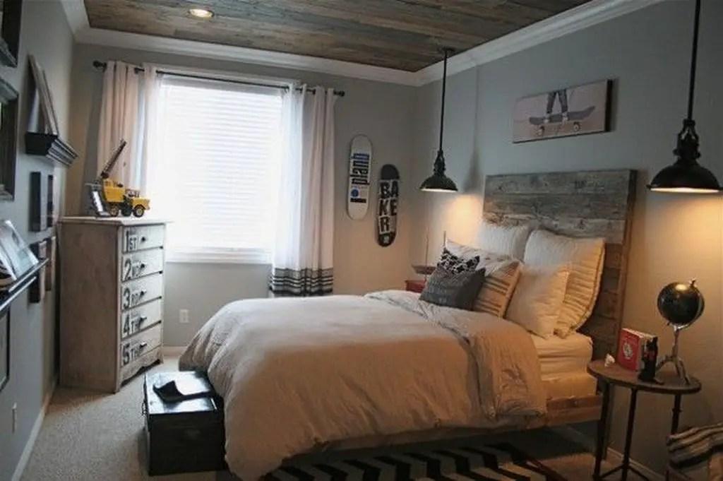 Simple bedroom with wooden headboard