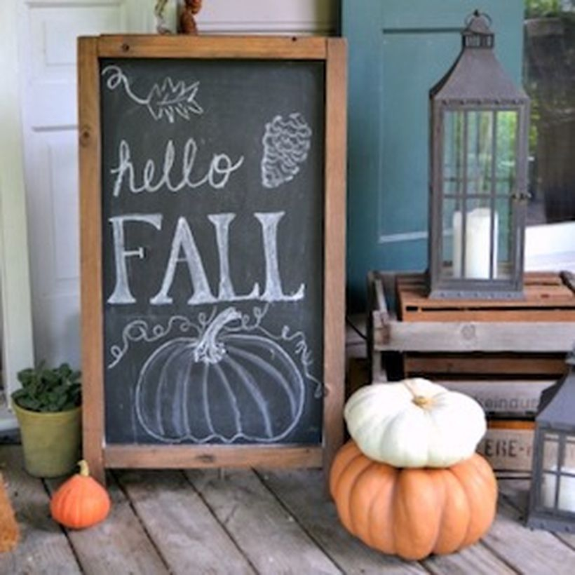Simple porch ideas fall welcome signs with wooden whiteboard, pumpkins and candle lights