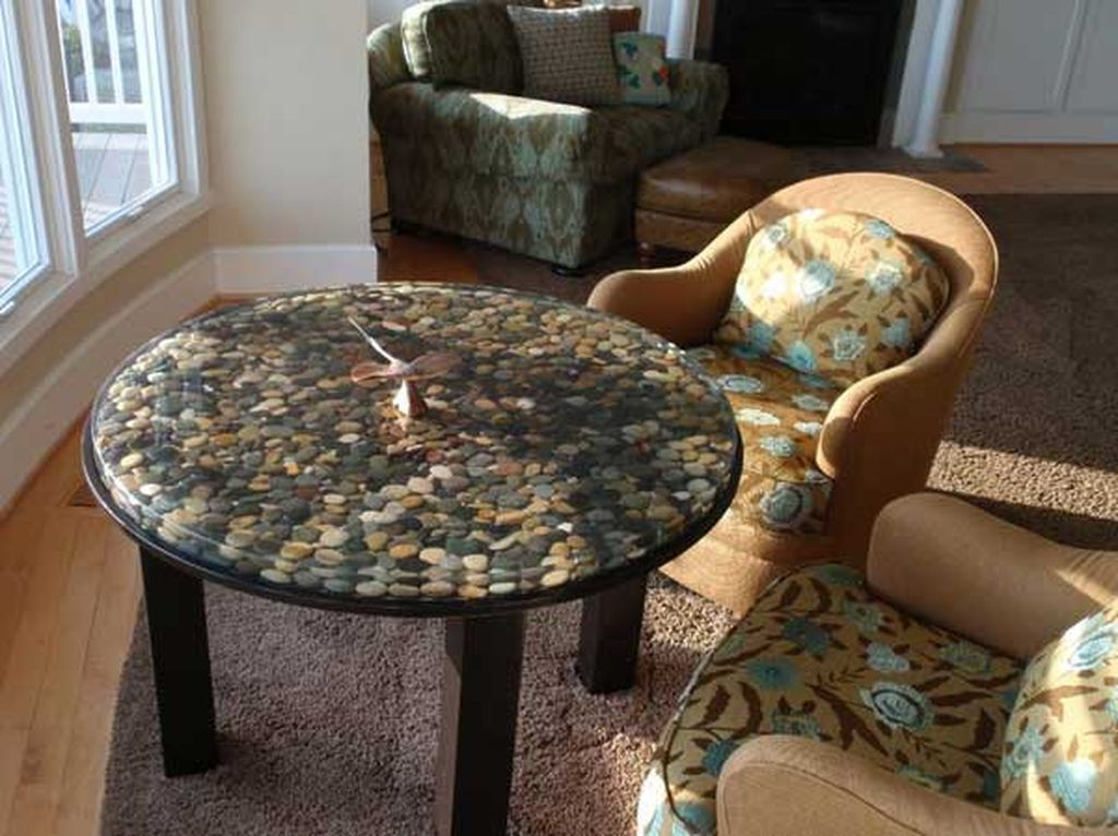 Stunning living room furniture design with stone table top to complete your natural living room