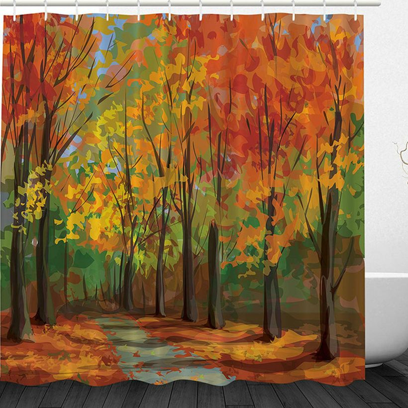 Style forest shower curtain set