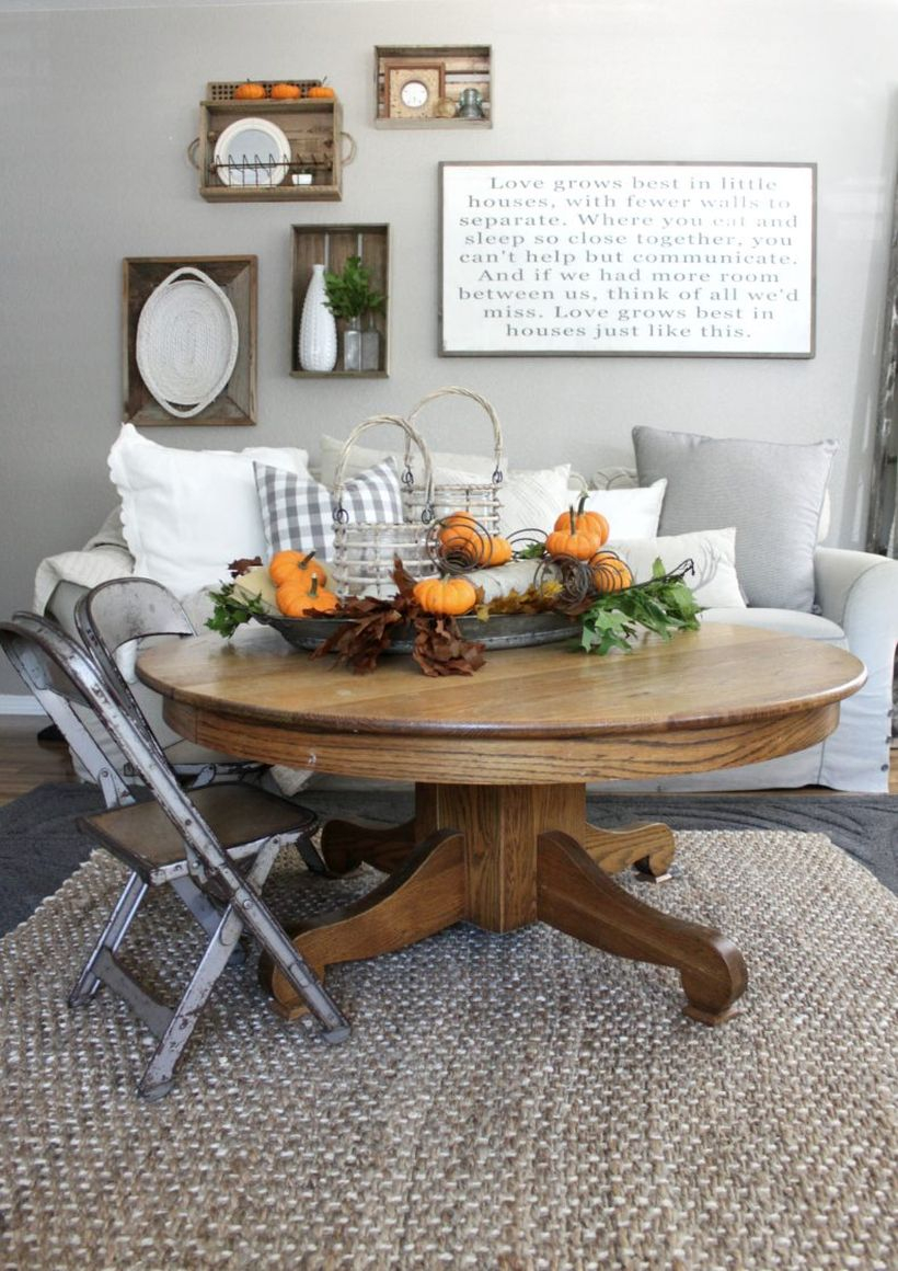 An inspire decoration table coffee with orange pumpkin for your living room to look fun this fall