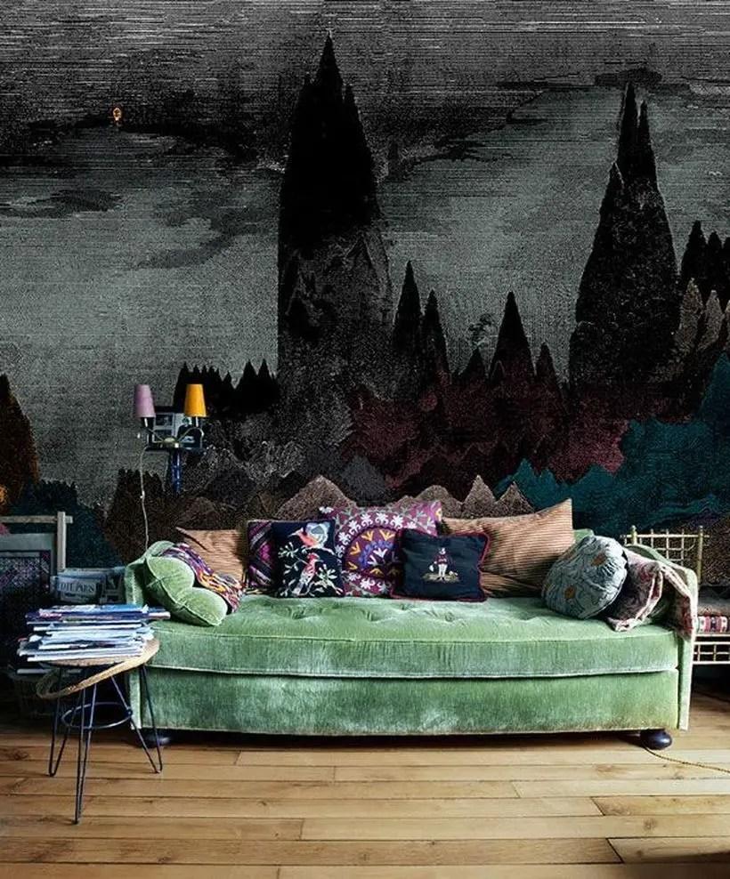 Impressive drak green sofa