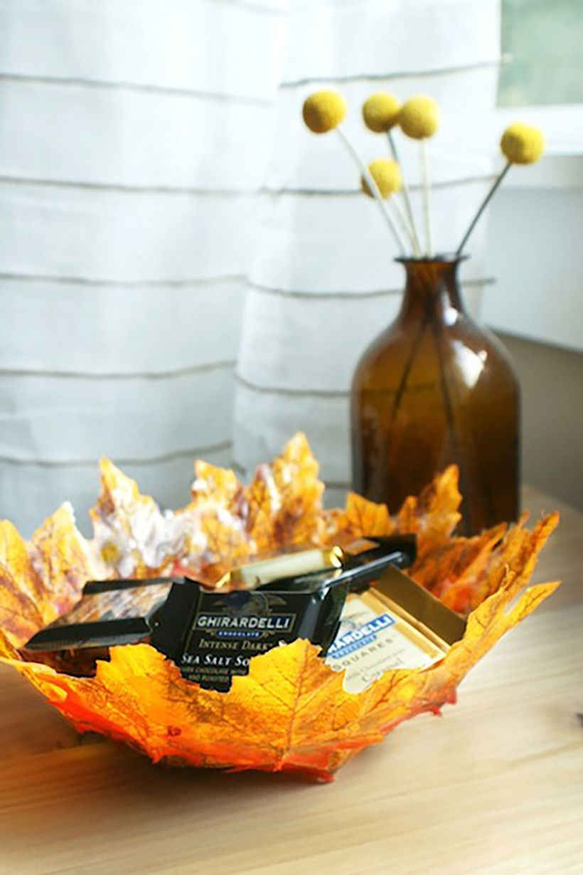 Autumn leaves craft bowl shape
