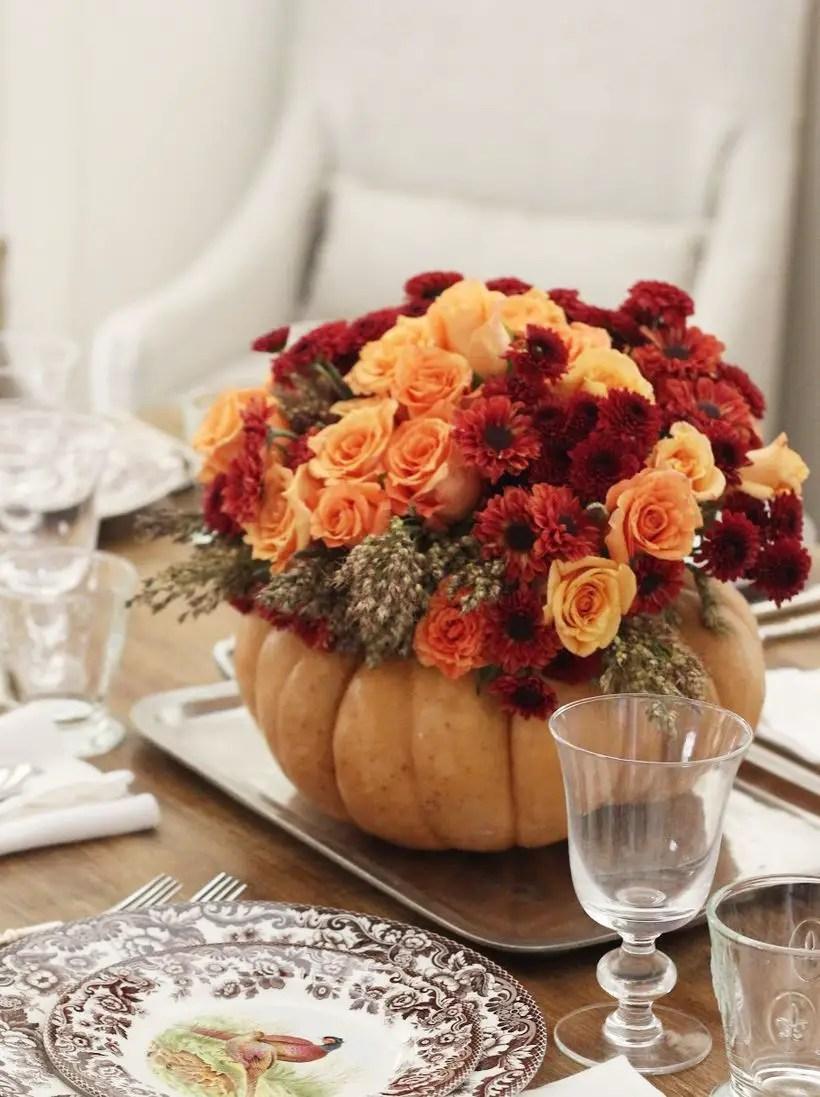 Flowers in the pumpkin fruit decoration