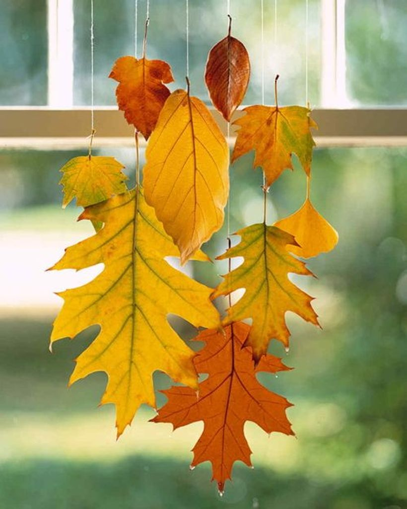 Hanging autumn leaves craft