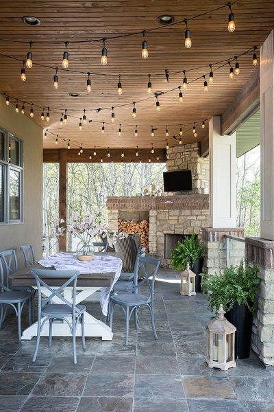 Lantern and string lamps for porch