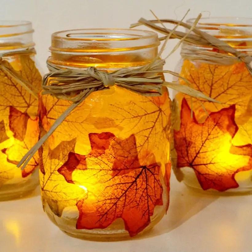Maple leaf decoupage mason jars fall decor craftgawker
