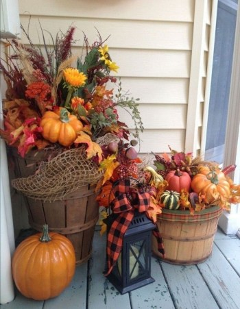 Pumpkin and wooden pot