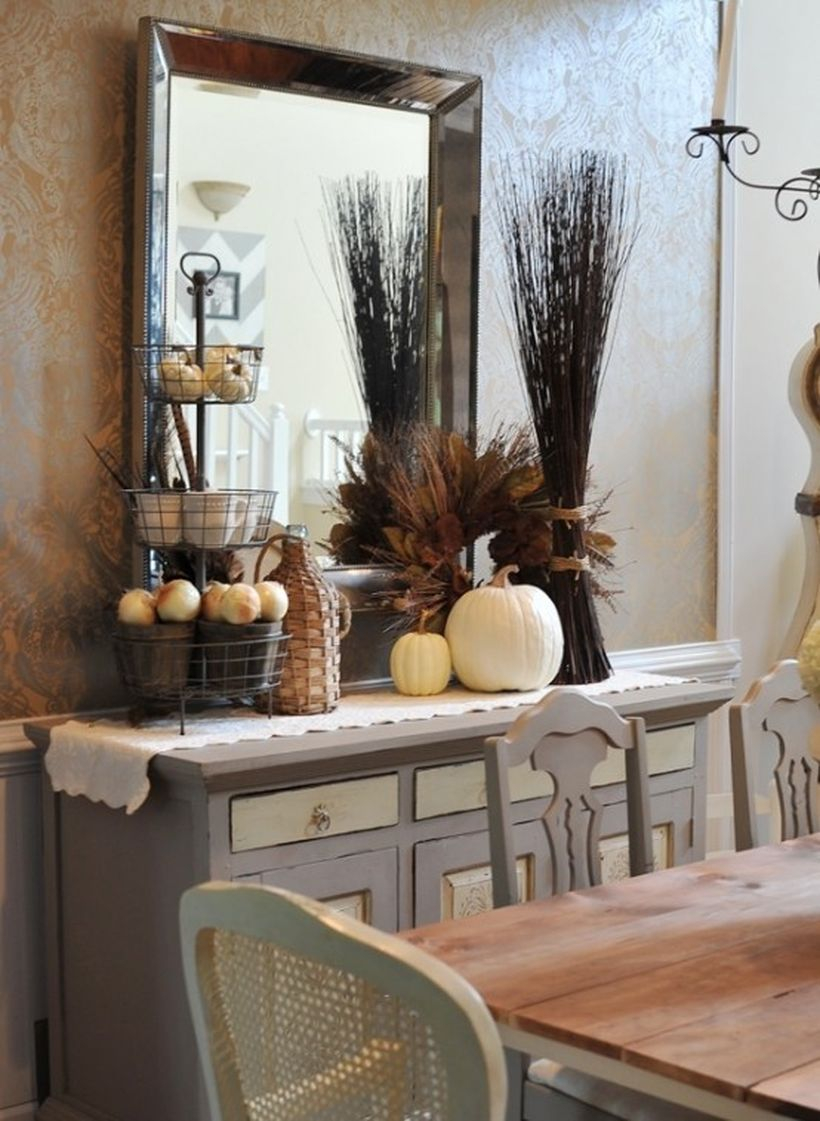 Simple console table to store ornament pumpkin in dining room to look fun this fall