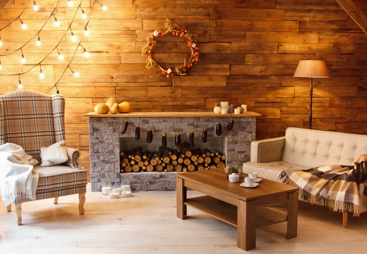 String lights fireplace decoration