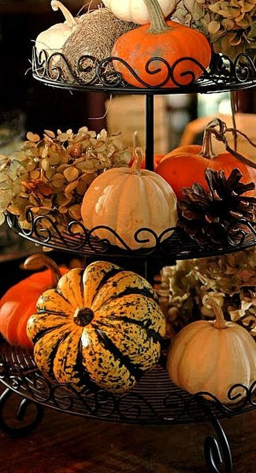 Unusual pumpkins for centerpiece decoration
