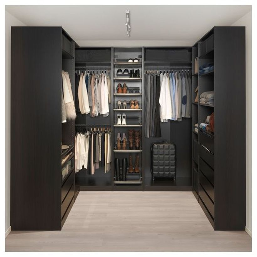 A beautiful black corner wardrobe.