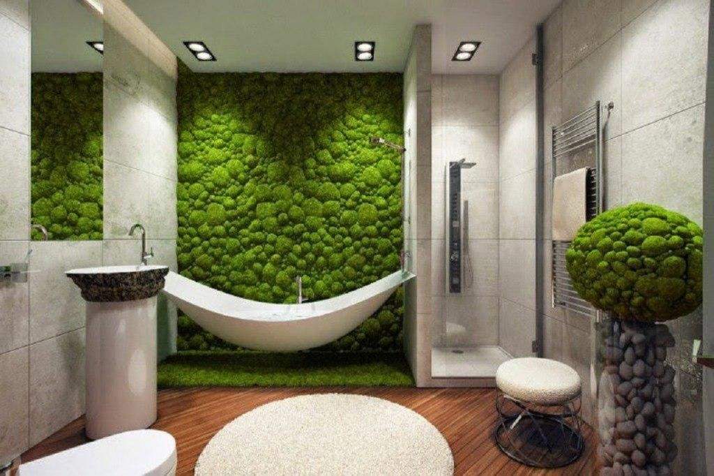 An amazing modern bathroom decor with moss wall in the bathroom to complete your decoration