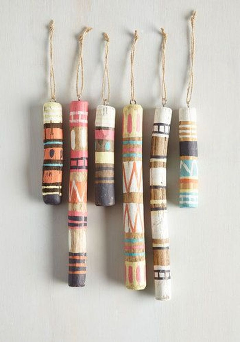 An attractive ornament for bohemian home decorating with all in nature say aye ornaments set made from driftwood and rustic jute loops, these painted ornaments are ideal for the nature lover.