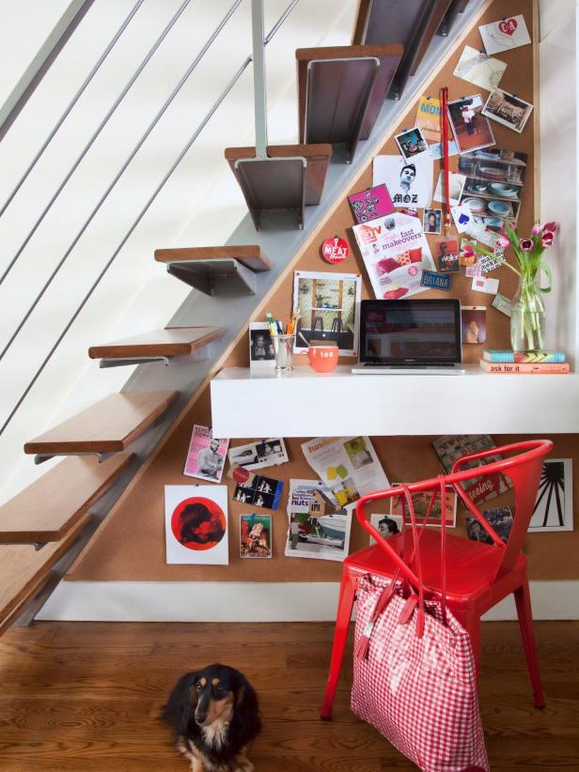 An exciting shelf under the stairs.
