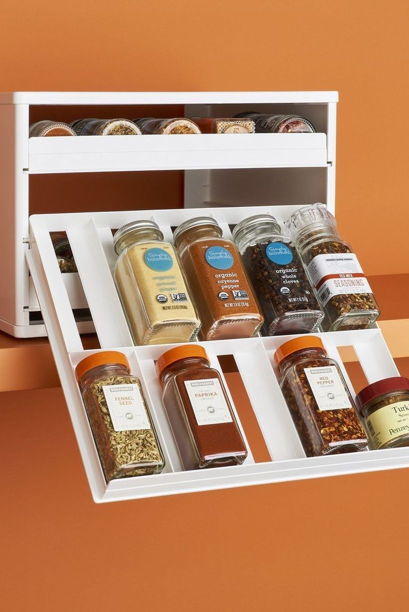 Best diy spices organizer with slide out drawers to look simple