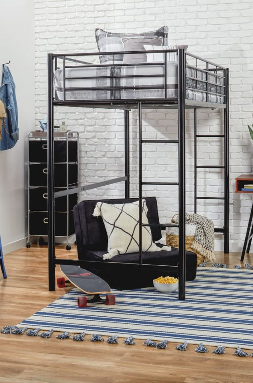 Boys room decoration with black bunk bed, gray striped mattress, black sofa under the mattress, blue carpet in white and blue stripes and black storage in the corner to look cool