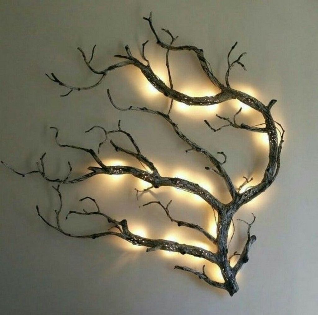 Branch with lamps for wall decoration