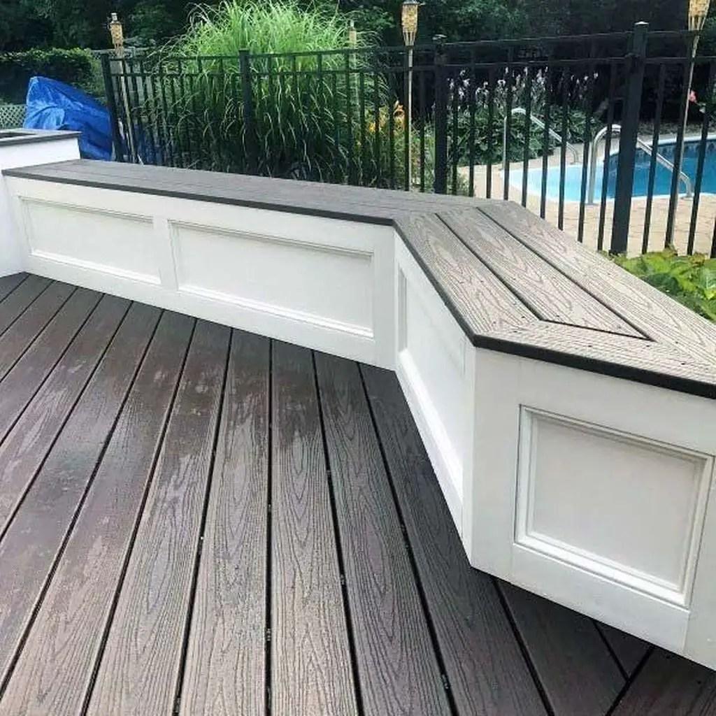 Dark outdoor bench