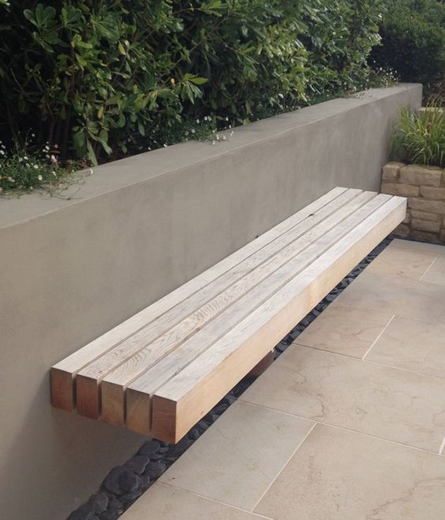 Floating wooden bench