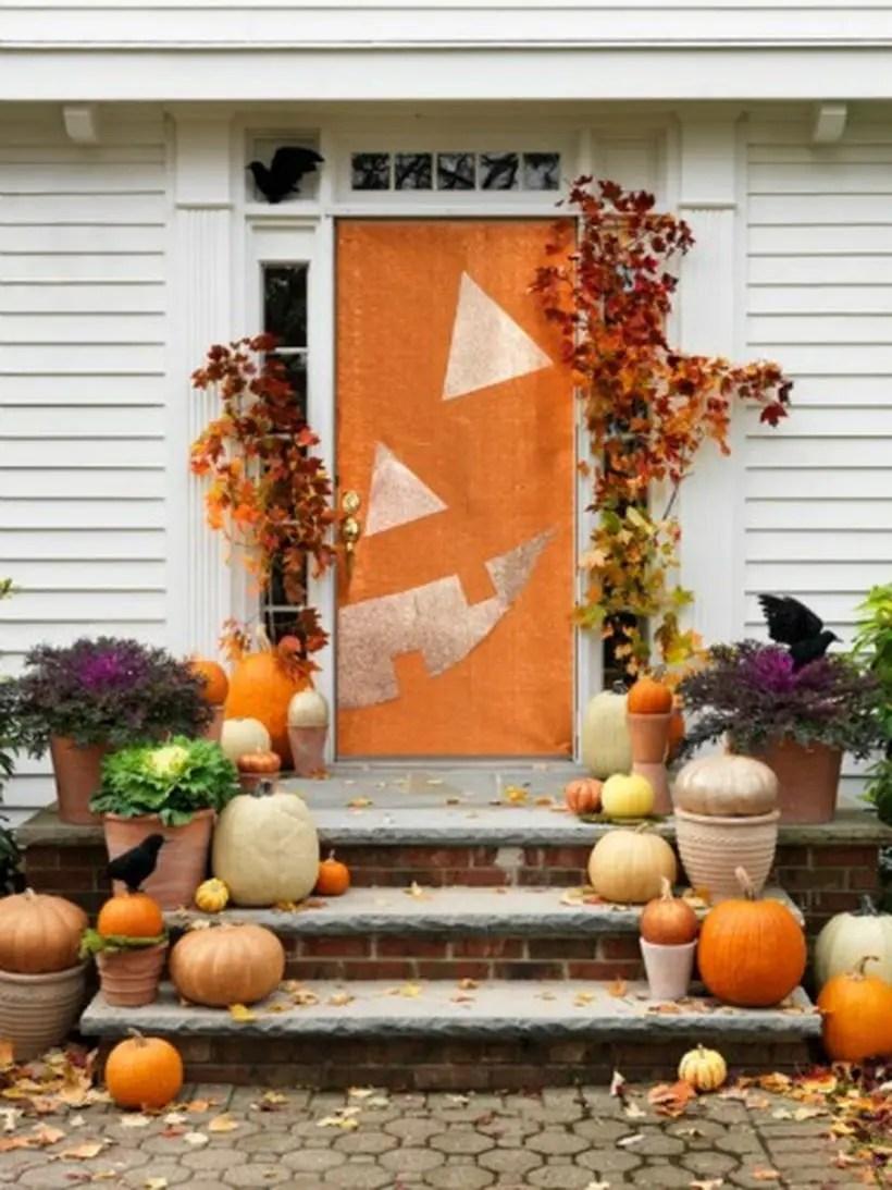 Half a pumpkin halloween door.