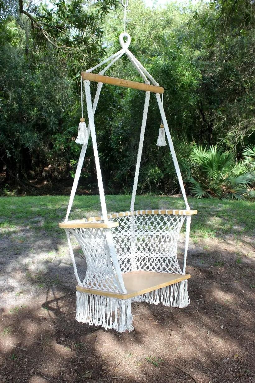 Handmade vintage hanging macrame chairs.