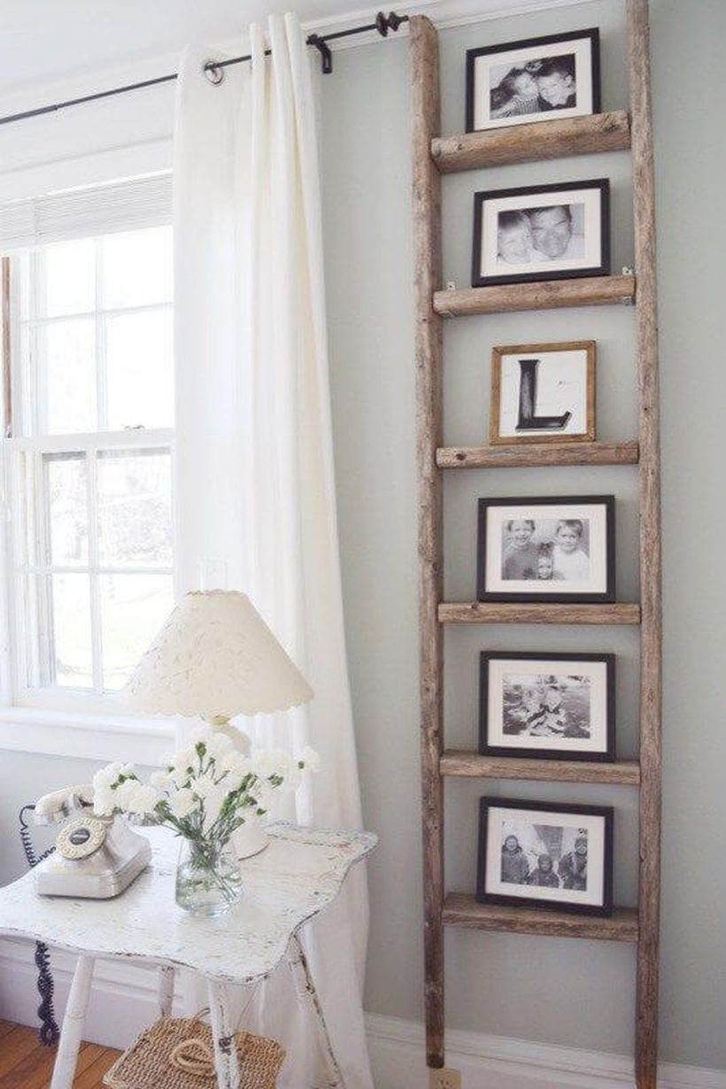 Home decoration diy projects with rustic ladder to store photo gallery to create a cozy room