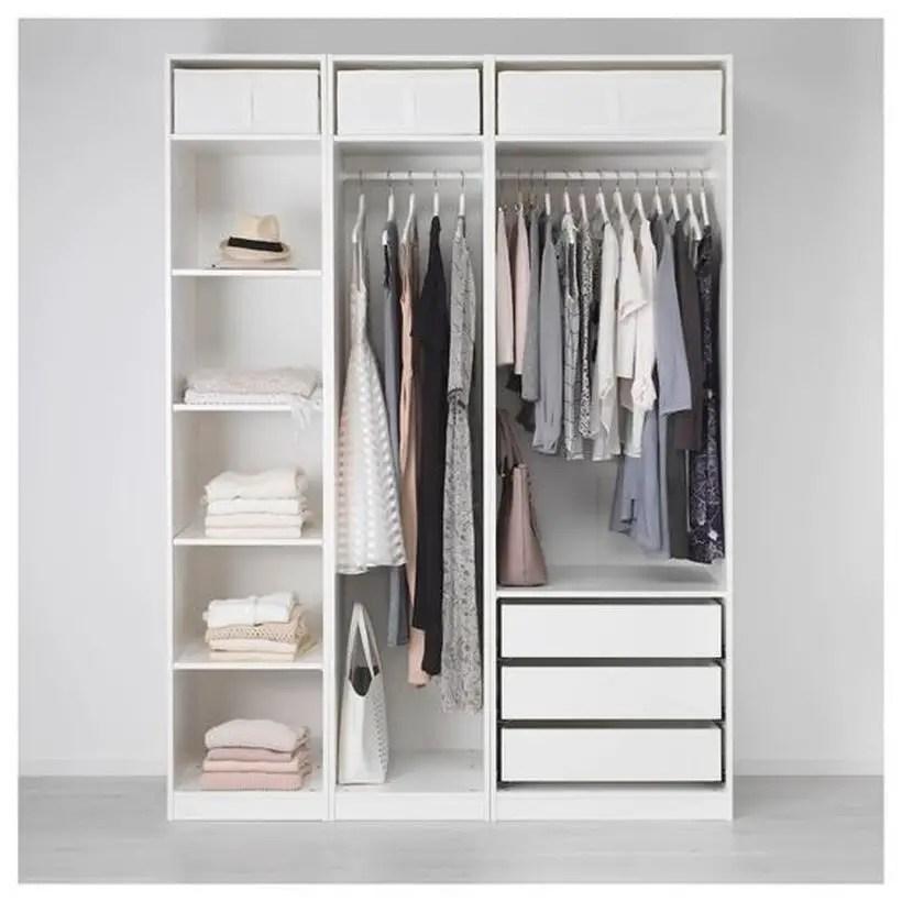Ikea pax white wardrobe.