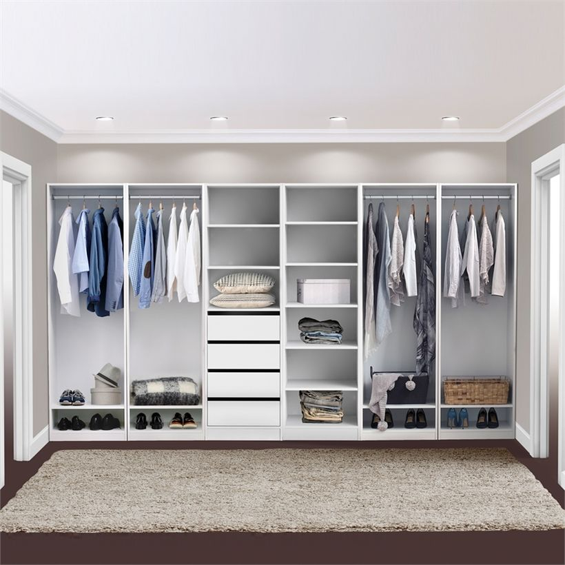 Multifunctiona mirror on minimalist wardrobe.