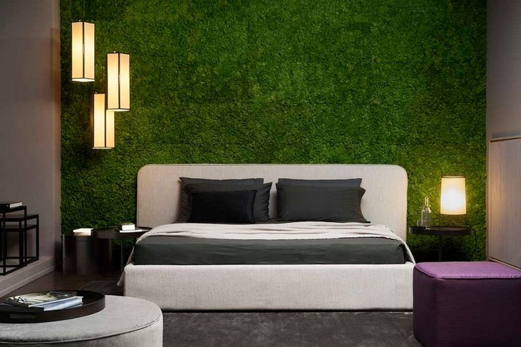 Perfect modern bedroom decor with moss wall in the wall to make impression nature in your bedroom decoration