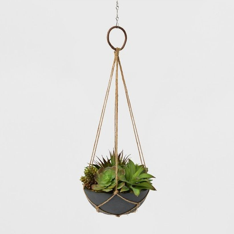 Round hanging succulent ideas with gray pot for best room