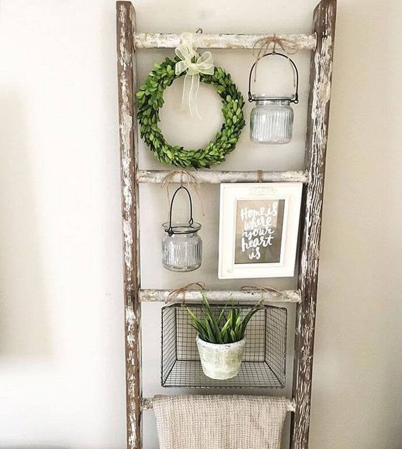 Rustic diy ladder shabby chic to hang ornament, wreath and house plant for your home decoration