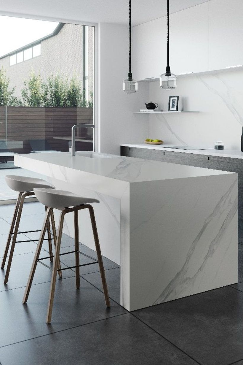 Square white countertop design with unique chairs