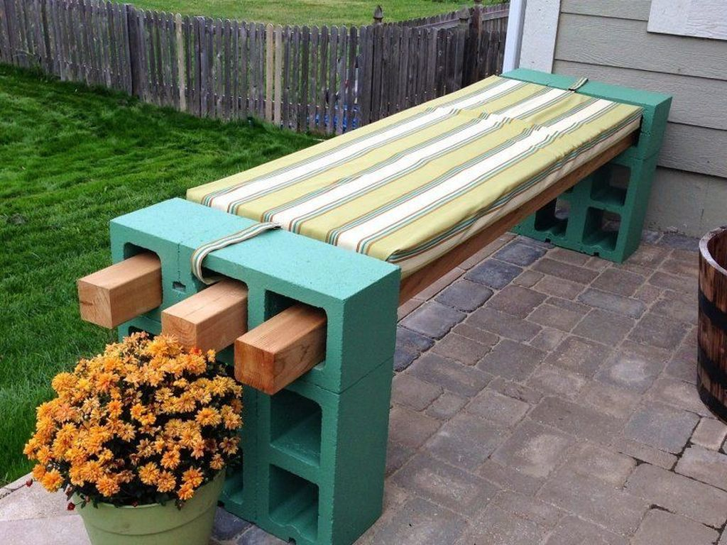Striped wooden bench with light blue stand