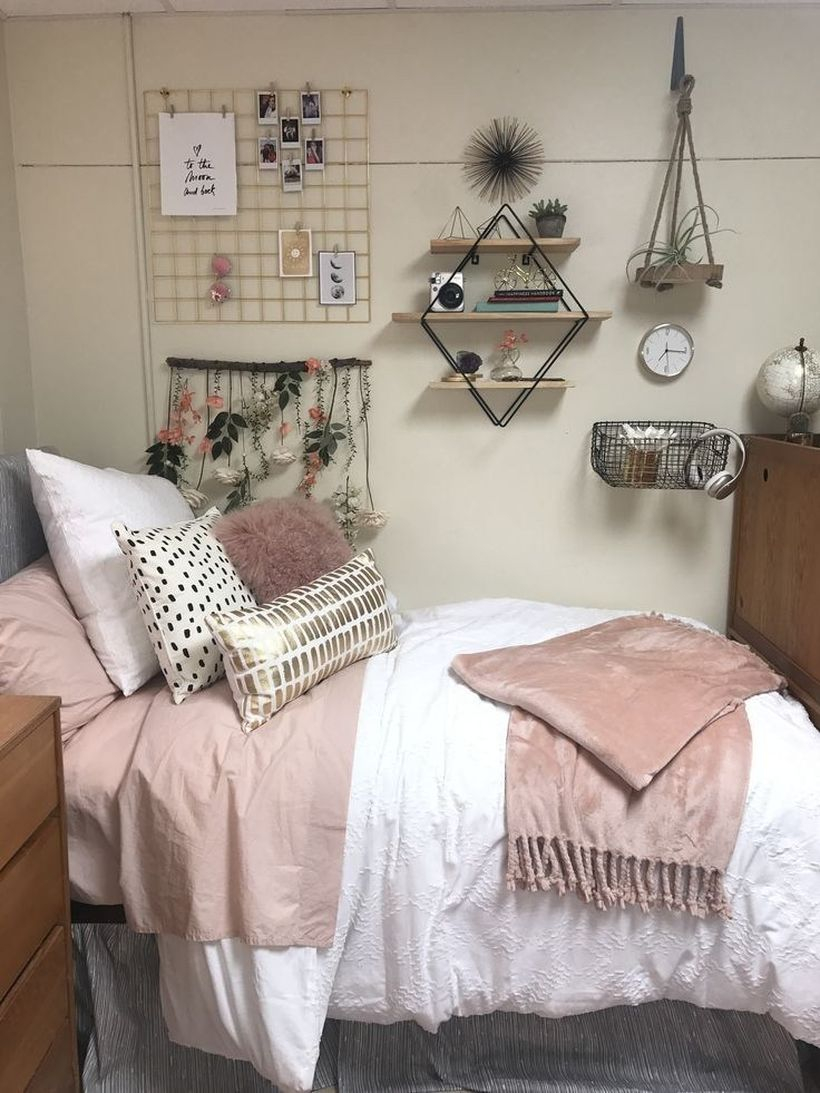 Stunning girls room decor with pink mattress, white blanket, colorful pillows, hanging plants and diy storage decoration on the wall to look creative