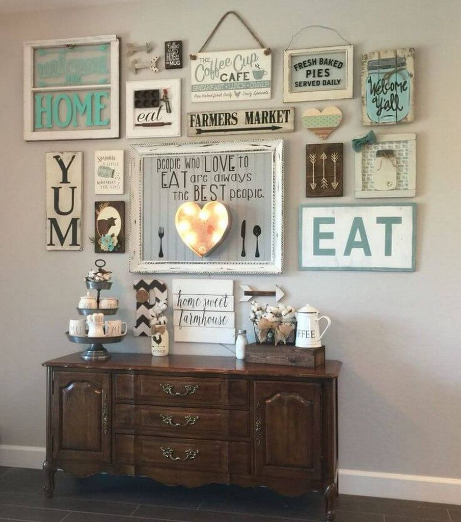 Wall gallery above cabinets to beautify your home