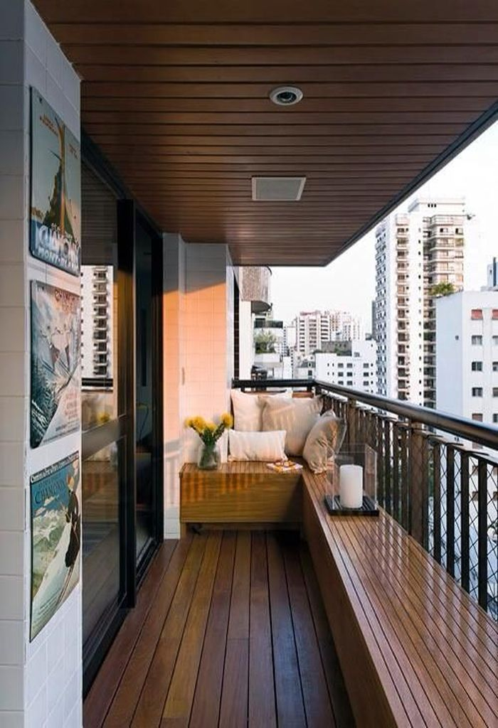 Wooden ceiling to perfect your small balcony