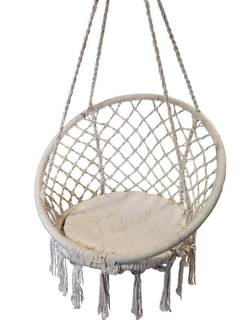 Zanui hanging macrame chair.