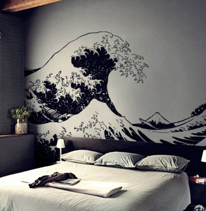 Amazing wall painting sea waves on the wall for your bedroom to create monocrhome theme