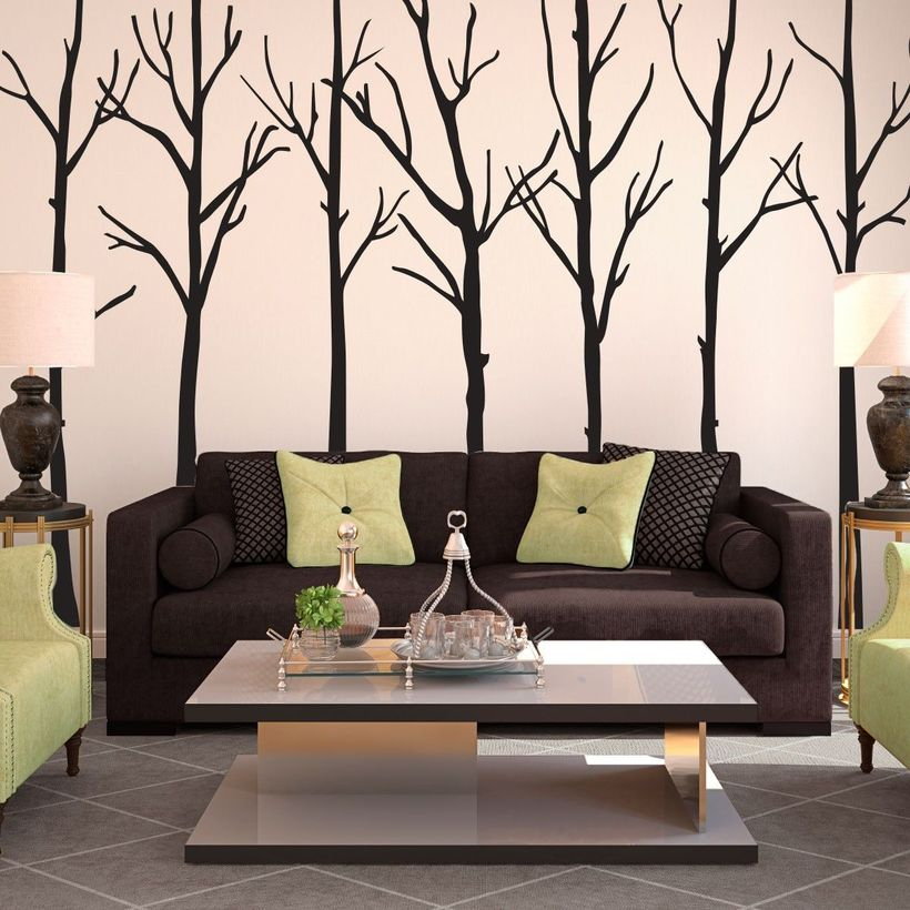 Awesome wall painting for living room with the tree painting project to create matching colors