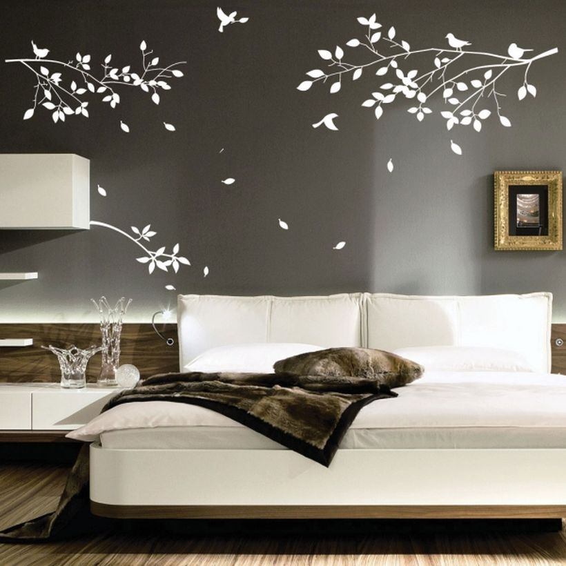 Best wall painting with deciduous leaves and birds fly themes for your backdrop bed you must try