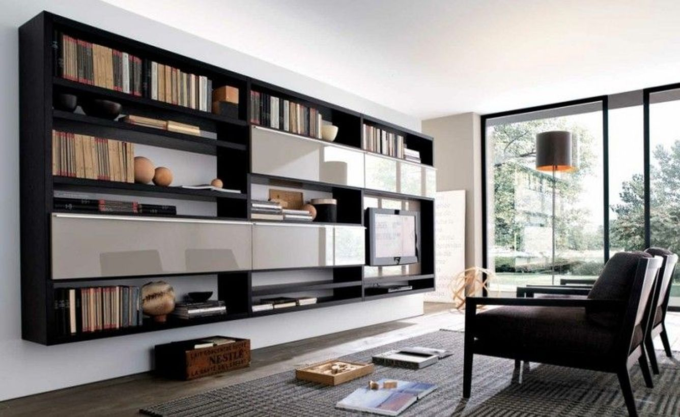 Black bookshelves decoration